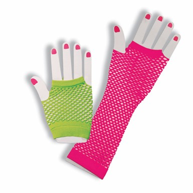 80's Pink and Green Fishnet Glove Costume Accessory Set