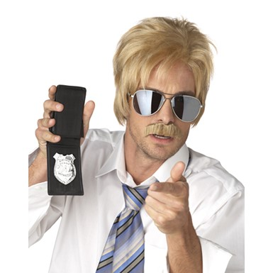 Ace Detective Blonde Wig And Mustache Costume Accessory