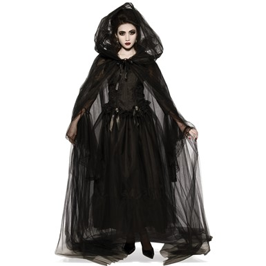 Adult Black Hooded Costume Cape