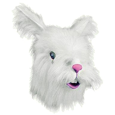 Adult Furry White Rabbit Mask Animal Halloween Costumes