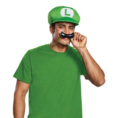 Adult Luigi Hat & Mustache Necklace Costume Kit