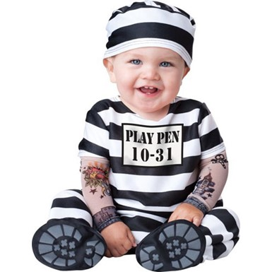 Baby Jailbird Convict Inmate Adorable Halloween Costume