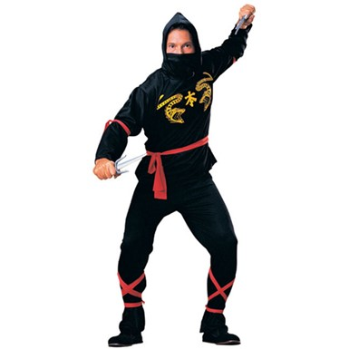 Black Ninja Warrior Adult Standard Size Costume