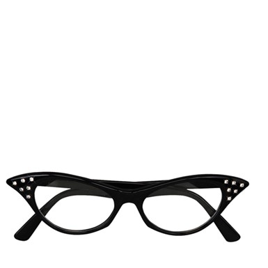 Black Rhinestone 50's Glasses Costume Accessory