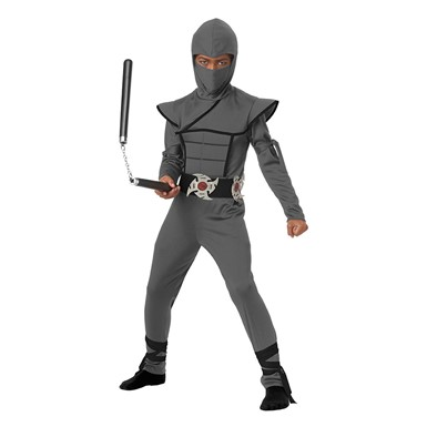 Boys Gray Stealth Ninja Halloween Costume