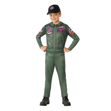 Boys Top Gun Jumpsuit Pilot Costume