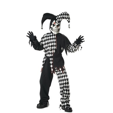 Child Black/White Evil Jester Costume for Halloween