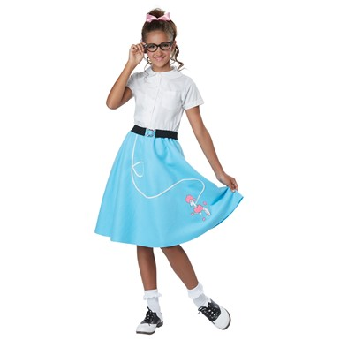 Girls 50's Blue Poodle Skirt Costume