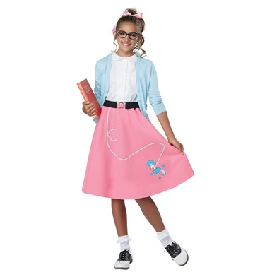 Girls 50's Pink Poodle Skirt Costume