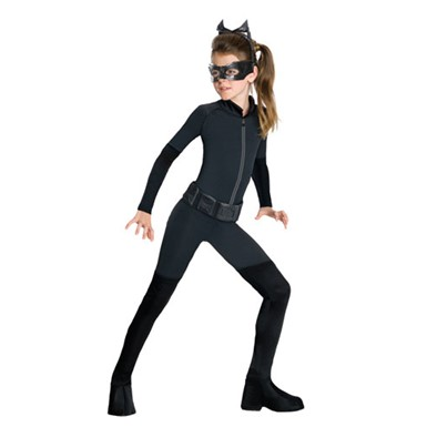 Girls Black Catwoman Catsuit Halloween Costume