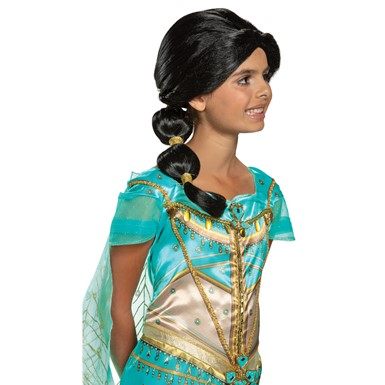 Girls Disney Jasmine Black Ponytail Wig