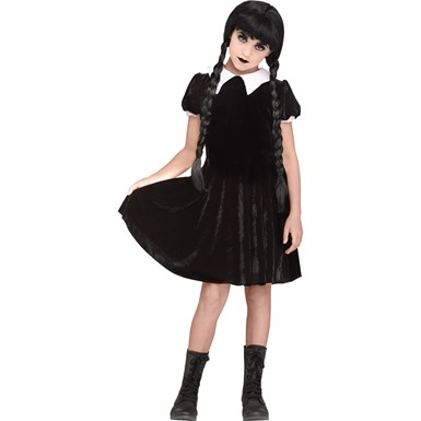 Girls Gothic Girl Wednesday Addams Costume