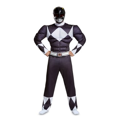 Mens Black Ranger Muscle Power Rangers Costume