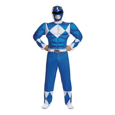 Mens Blue Ranger Muscle Power Rangers Costume