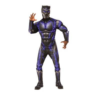 Mens Deluxe Muscle Chest Black Panther Battle Suit Costume