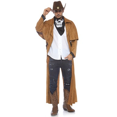 Mens Faux Suede Western Costume Coat