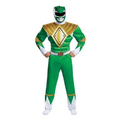 Mens Green Ranger Muscle Power Rangers Costume