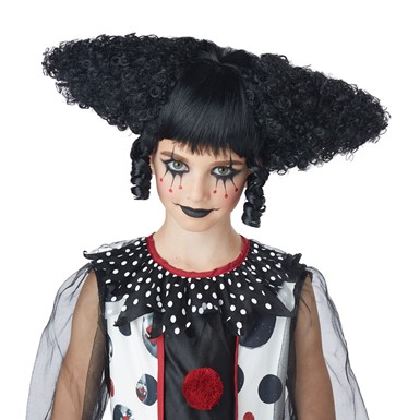 Womens Creepy Clown Gothic Black Wig