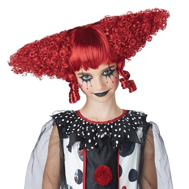 Womens Creepy Clown Gothic Red Wig