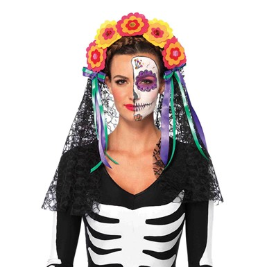 Womens Day of the Dead Dia De Los Muertos Headband